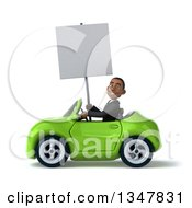 Clipart Of A 3d Young Black Businessman Holding A Blank Sign And Driving A Green Convertible Car To The Left Royalty Free Illustration