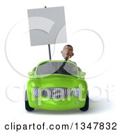 Clipart Of A 3d Young Black Businessman Holding A Blank Sign And Driving A Green Convertible Car Royalty Free Illustration