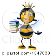 Clipart Of A 3d Happy Queen Bee Shrugging And Holding A Stack Of Books Royalty Free Illustration by Julos