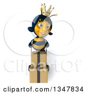Clipart Of A 3d Happy Queen Bee Moving Boxes On A Dolly Royalty Free Illustration by Julos