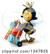 Clipart Of A 3d Happy Queen Bee Moving Gifts On A Dolly Slightly To The Left Royalty Free Illustration by Julos