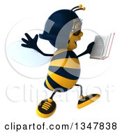 Clipart Of A 3d Bespectacled Female Bee Jumping And Reading A Book Royalty Free Illustration