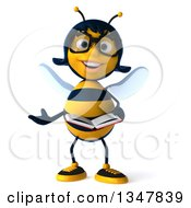 Clipart Of A 3d Bespectacled Female Bee Presenting And Holding A Book Royalty Free Illustration