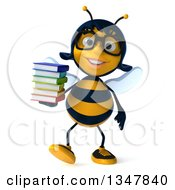 Clipart Of A 3d Bespectacled Female Bee Walking And Holding A Stack Of Books Royalty Free Illustration