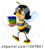 Clipart Of A 3d Bespectacled Female Bee Walking To The Left And Holding A Stack Of Books Royalty Free Illustration