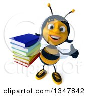 Clipart Of A 3d Female Bee Holding Up A Thumb And A Stack Of Books Royalty Free Illustration