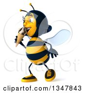 Clipart Of A 3d Happy Female Bee Walking Slightly To The Left And Eating A Waffle Ice Cream Cone Royalty Free Illustration