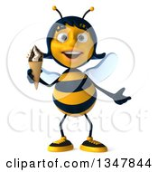Clipart Of A 3d Happy Female Bee Shrugging And Holding A Waffle Ice Cream Cone Royalty Free Illustration