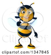 Clipart Of A 3d Female Bee Searching With A Magnifying Glass Royalty Free Illustration