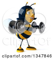Clipart Of A 3d Happy Female Bee Working Out Facing Slightly Right And Doing Lateral Raises With Dumbbells Royalty Free Illustration