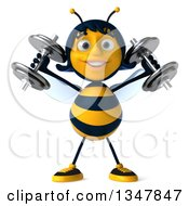 Clipart Of A 3d Happy Female Bee Working Out Doing Shoulder Presses With Dumbbells Royalty Free Illustration