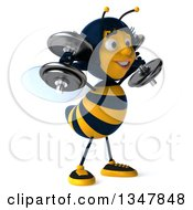 Clipart Of A 3d Happy Female Bee Working Out Facing Slightly Right Doing Shoulder Presses With Dumbbells Royalty Free Illustration
