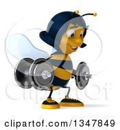 Clipart Of A 3d Happy Female Bee Working Out Facing Slightly Right And Squatting With Dumbbells Royalty Free Illustration