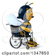 Clipart Of A 3d Happy Handicap Female Bee Facing Slightly Right And Sitting In A Wheelchair Royalty Free Illustration