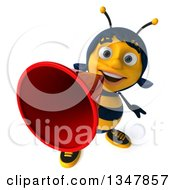 Clipart Of A 3d Happy Female Bee Announcing Upwards With A Megaphone Royalty Free Illustration