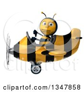 Clipart Of A 3d Male Aviator Pilot Bee Giving A Thumb Down And Flying A Yellow And Black Striped Airplane To The Left Royalty Free Illustration