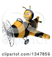 Clipart Of A 3d Happy Male Aviator Pilot Bee Flying A Yellow And Black Striped Airplane Slightly To The Left Royalty Free Illustration