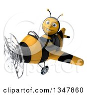 3d Happy Male Aviator Pilot Bee Flying A Yellow And Black Striped Airplane Slightly To The Left