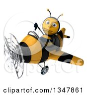 Clipart Of A 3d Male Aviator Pilot Bee Giving A Thumb Down And Flying A Yellow And Black Striped Airplane Slightly To The Left Royalty Free Illustration