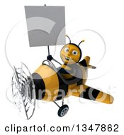 3d Happy Male Aviator Pilot Bee Holding A Blank Sign And Flying A Yellow And Black Striped Airplane Slightly To The Left