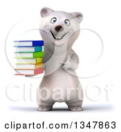 Clipart Of A 3d Happy Polar Bear Facing Holding And Pointing To A Stack Of Books Royalty Free Illustration