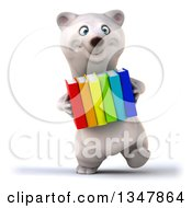 Clipart Of A 3d Happy Polar Bear Walking And Carrying Colorful Books Royalty Free Illustration