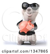 Clipart Of A 3d Business Polar Bear Wearing Sunglasses And Holding A Piggy Bank Royalty Free Illustration by Julos