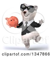 Clipart Of A 3d Business Polar Bear Wearing Sunglasses Jumping And Holding A Piggy Bank Royalty Free Illustration