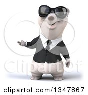 Clipart Of A 3d Happy Business Polar Bear Wearing Sunglasses And Presenting Royalty Free Illustration