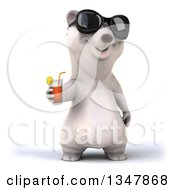 Clipart Of A 3d Happy Polar Bear Wearing Sunglasses And Holding Out A Beverage Royalty Free Illustration