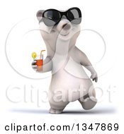Poster, Art Print Of 3d Happy Polar Bear Wearing Sunglasses Walking And Holding A Beverage