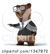 Clipart Of A 3d Bespectacled Happy Brown Business Bear Pointing To The Left 2 Royalty Free Illustration