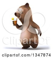 Clipart Of A 3d Happy Brown Bear Walking Slightly To The Left And Drinking A Beverage Royalty Free Illustration