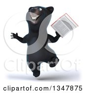 Clipart Of A 3d Happy Black Bear Jumping And Holding A Book Royalty Free Illustration by Julos