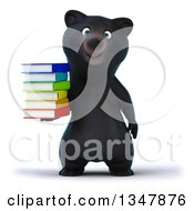 Clipart Of A 3d Happy Black Bear Holding A Stack Of Colorful Books Royalty Free Illustration by Julos