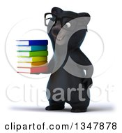 Clipart Of A 3d Bespectacled Happy Black Bear Facing Slightly Left And Holding A Stack Of Books Royalty Free Illustration