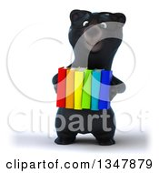 Clipart Of A 3d Bespectacled Happy Black Bear Holding Colorful Books Royalty Free Illustration
