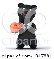 Clipart Of A 3d Bespectacled Black Business Bear Holding And Pointing To A Piggy Bank Royalty Free Illustration