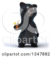Clipart Of A 3d Happy Black Bear Holding A Beverage Royalty Free Illustration