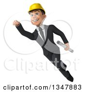 Clipart Of A 3d Young White Male Architect Flying With Blueprints Royalty Free Vector Illustration