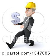 Clipart Of A 3d Young White Male Architect Holding A Dollar Currency Symbol And Speed Walking Slightly To The Left Royalty Free Vector Illustration