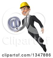 Clipart Of A 3d Young White Male Architect Holding An Email Arobase At Symbol And Flying Royalty Free Vector Illustration
