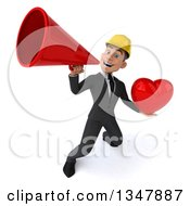 Clipart Of A 3d Young White Male Architect Holding A Love Heart And Announcing Upwards With A Megaphone Royalty Free Vector Illustration