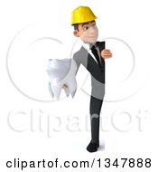 Clipart Of A 3d Full Length Young White Male Architect Holding A Tooth And Looking Around A Sign Royalty Free Vector Illustration