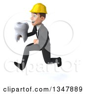 Clipart Of A 3d Young White Male Architect Holding A Tooth And Sprinting To The Left Royalty Free Vector Illustration