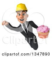 Clipart Of A 3d Young White Male Architect Flying And Holding A Cupcake Royalty Free Vector Illustration