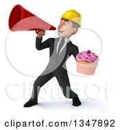 Clipart Of A 3d Young White Male Architect Holding A Cupcake And Announcing To The Left With A Megaphone Royalty Free Vector Illustration