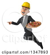 Clipart Of A 3d Young White Male Architect Holding A Pizza Pointing And Flying Royalty Free Vector Illustration