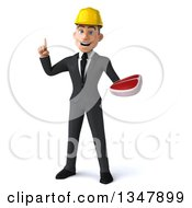 Clipart Of A 3d Young White Male Architect Holding Up A Finger And A Beef Steak Royalty Free Vector Illustration