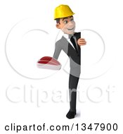 Clipart Of A 3d Full Length Young White Male Architect Holding A Beef Steak And Looking Around A Sign Royalty Free Vector Illustration